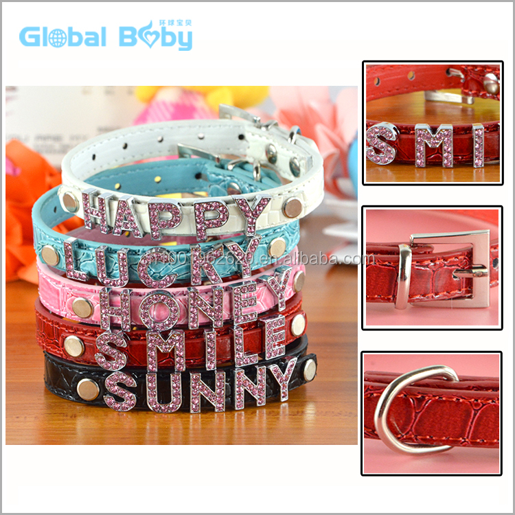 10MM Personalized Dog Pet Collars with Name Letter and Charms