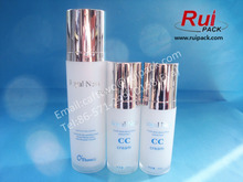 30/40/50/130ml empty acrylic airless bottles,double layers cosmetic airless bottles with aluminum airless pump