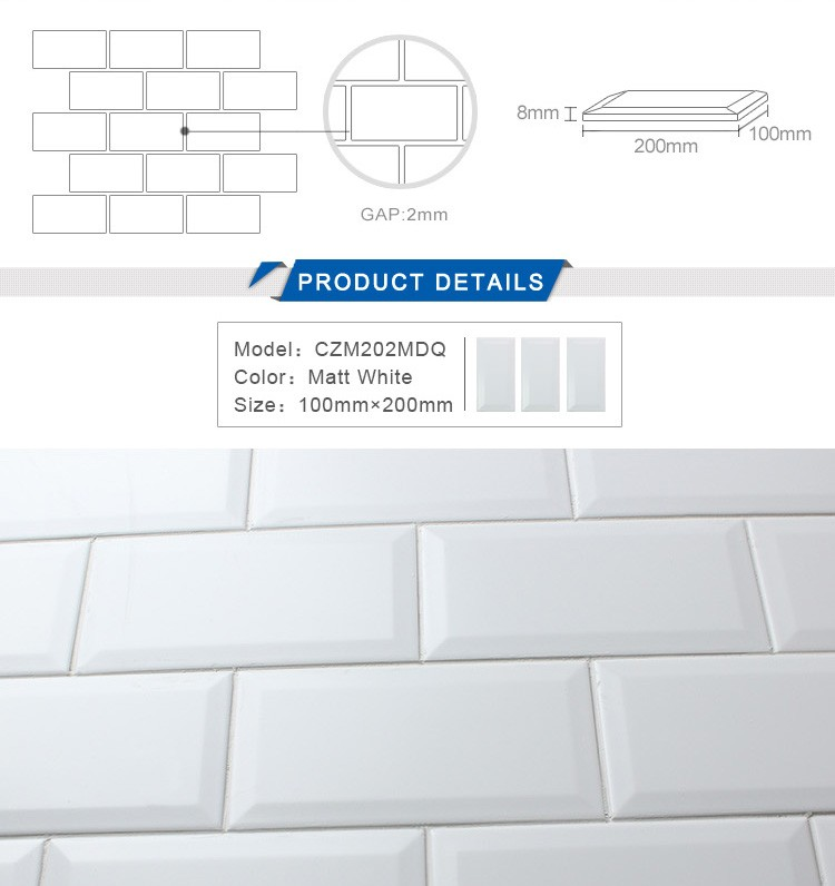 "In stock 4""x8"" matte white subway beveled ceramic backsplash tiles"
