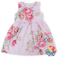 high quality boutique baby clothes girls frocks designs latest floral girls sleeveless summer dress