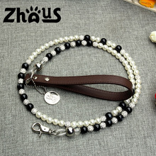High-end Luxury Pearl Beads Steel Wire Pet dog leash