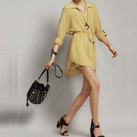 Women's high-end pure color long sleeves loose plus size chiffon short skirt