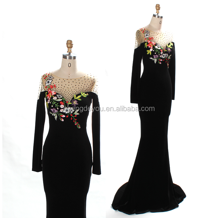 Promotional women applique long sleeve evening party cocktail maxi dress