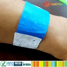 MIFARE Ultralight C Colorful RFID Disposable DuPont paper Wristbands for E ticket