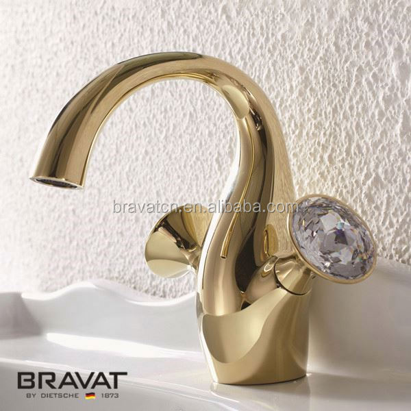 Swan design two handle gold counter basin faucet F14287G