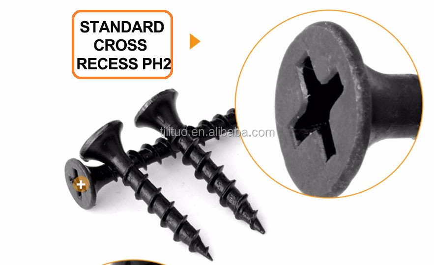 Tianjin China screw manufacturer 3.5x25 black drywall screw bugle head drywall screw black phosphate with good price