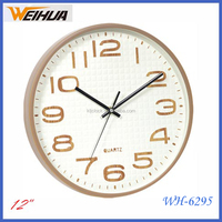 Round Plastic 12inch wall clock home decoration