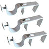 Rail vertical Highly Polished drapery Curtain Pole Wall Brackets x 3 (white)