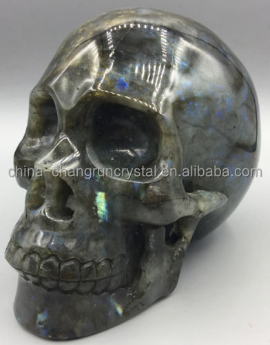 Wholesale Natural Labradorite Stone Skull Quartz Crystal Skull Carving
