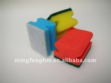 Durable cleaning sponge with scouring pad on surface