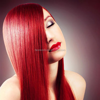 Factory fast shipping red color indian remy human hair weaving