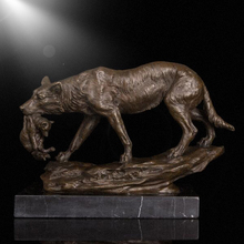 Table decoration metal craft bronze wolf sculpture/statues for sale