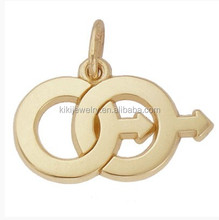 Fashion alloy gold plated symbol charm male twins charm