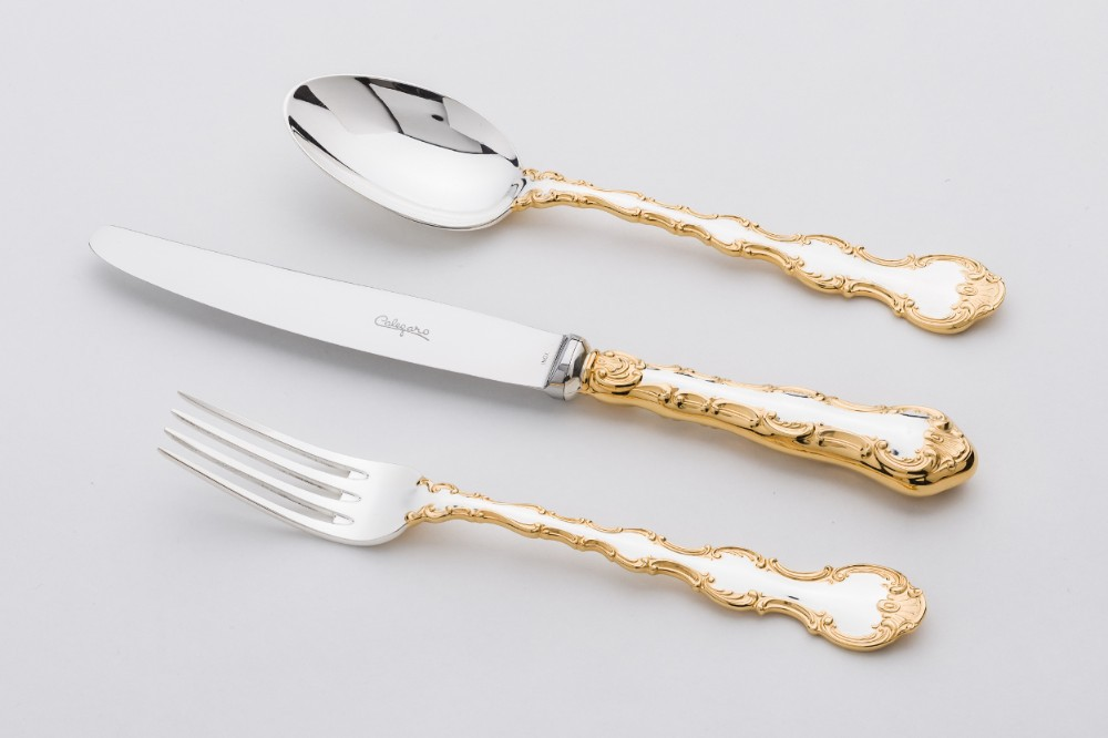 silver and gold accents flatware