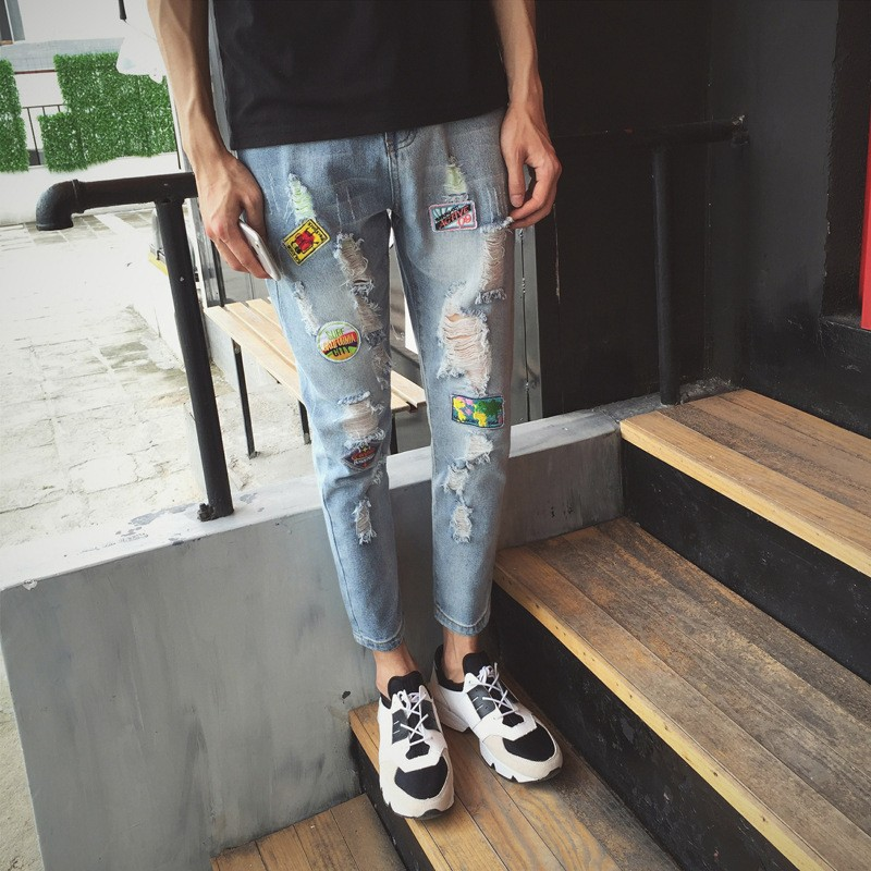 Latest Fashion Model Trousers Men Tattered Pant Jeans With Accessories Stickers