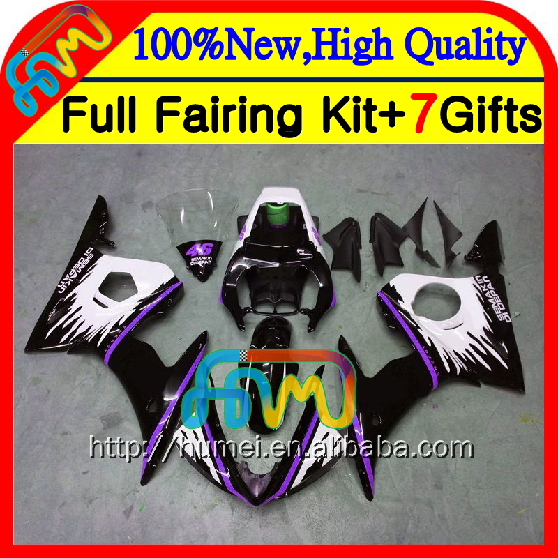 Bodywork For YAMAHA YZFR6 TOP black 2003 2004 2005 YZF600 Body 6HM-146 YZF-R6 YZF 600 R 6 03 YZF-R600 YZF R6 03 04 05 Fairing