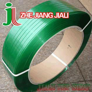 JL190127 green pet packing strapping tape/band(ISO9001:2008)