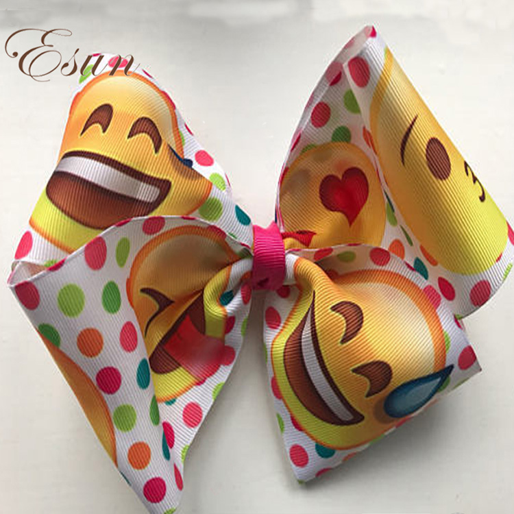 excellent wholesale ribbon emoji hair bows with clip for girls