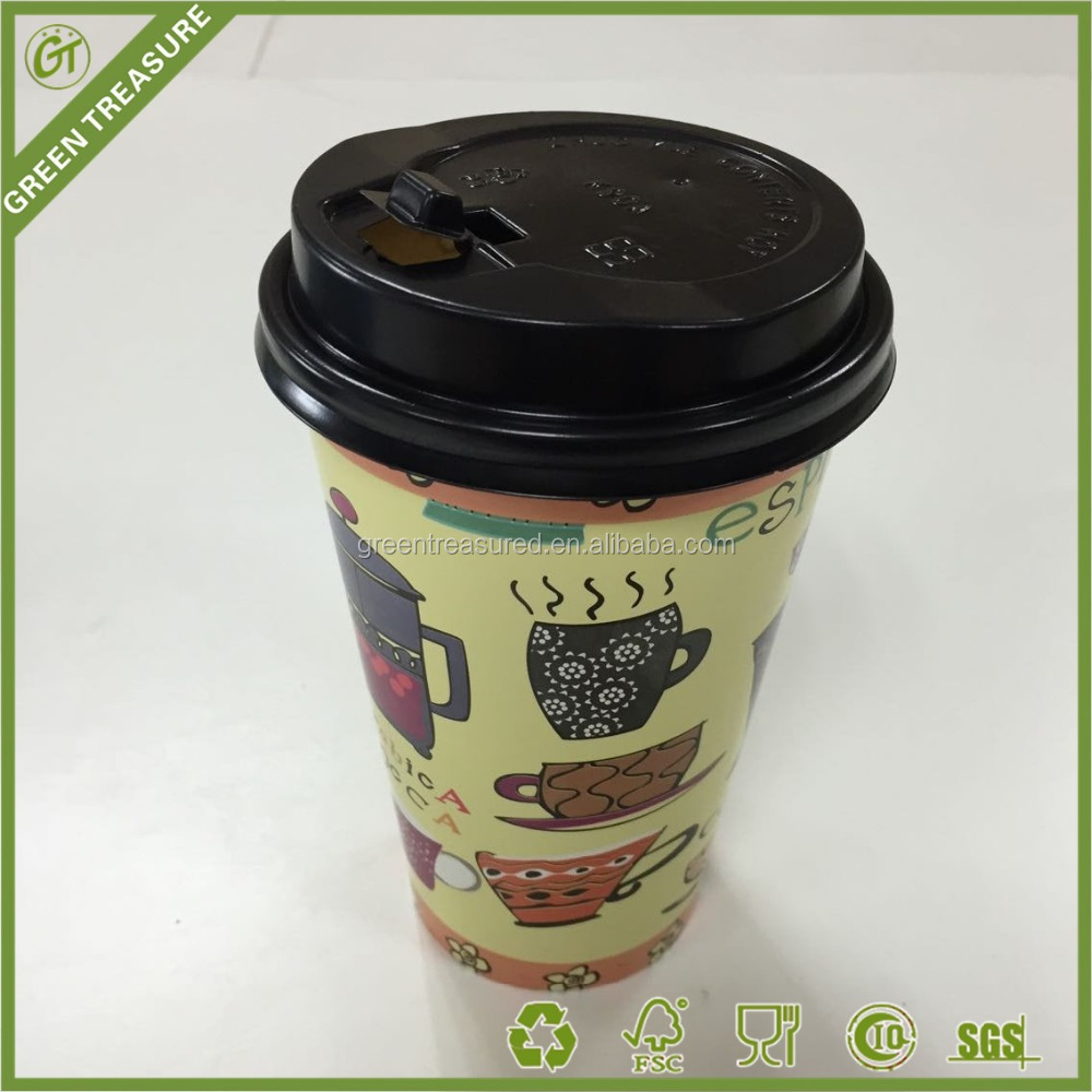 LARGE DISPOSABLE PAPER CUP HOT DRINK PAPER CUPS IN BULK WITH LID
