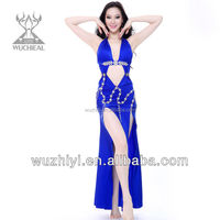 Latest Belly Dance Costumes,Blue Silk Sexy Nice Belly Dance Wear,Belly Dance Performance Dress for Dancer (QC2115)