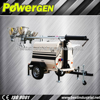 Hot Sale!!! POWER-GEN Reliable 4 Lamps 9m mast Diesel Engine Kubota D1105-BG Light Tower