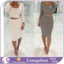 OEM Wholesale Dress New Women Summer Sexy Two piece set Cotton Women Club Party Bodycon Bandage Midi Dress