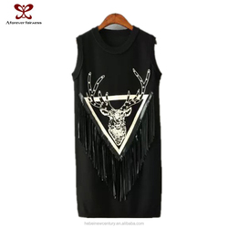 2015 Fashion Clothing Women Bodycon Dress Fringe Printing Deer Sleeveless Knit Rivets Dresses Sexy Party Dress Christmas Wear