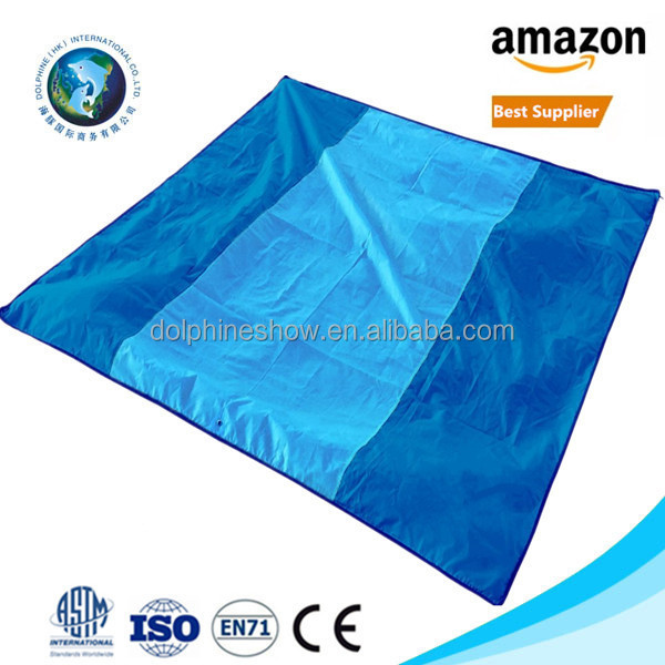 2017 Newest sand proof pocket beach blanket with LOGO Waterproof nylon parachute yoga folding beach mat