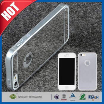 C&T High quality silver mirror face ultra -thin clear tpu shell for iphone 6s