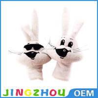 New design funny animal cartoon rabbit/bunny plush finger puppet customized stuffed finger toys
