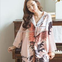 NP0089Z High Quality Autumn Satin Cranes Print Two Pieces Sets Lapel Button Home Suit Pajamas Women's Pink Sleepwear Nightwear