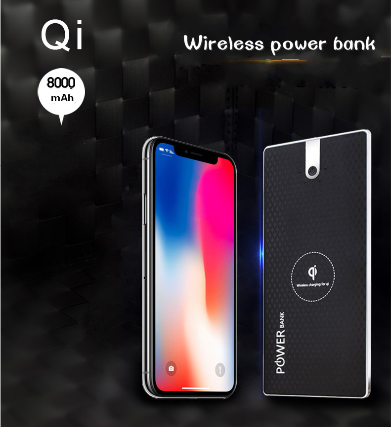 Qi wireless power bank with huge capacity best gift for iphone 8 in wholesale