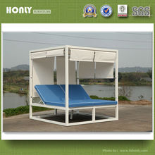 Double aluminum frame sling canopy bed outdoor luxury canopy bed