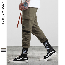 INFLATION 2017 Autumn Mens Knit Pants Mixed Colors Letter Trouser Belt Sweatpants With Side Pockets Casual pants men 303W17