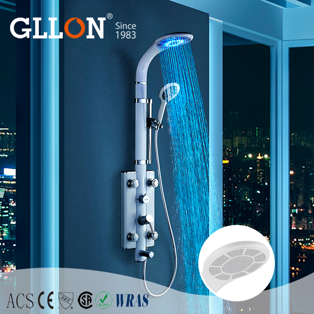 New fashion color changing led rain shower with massage jets