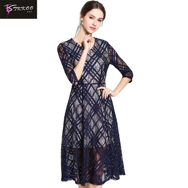 Wholesale Women Check Print Lace Dress