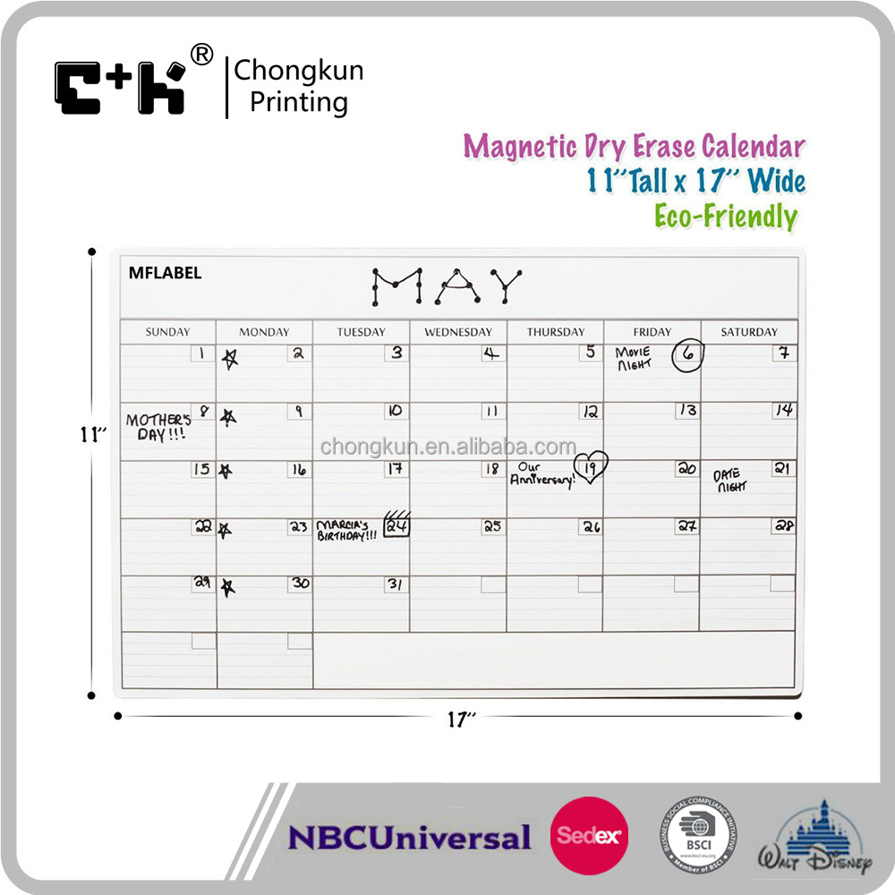 Magnetic Monthly Calendar For Refrigerator : Amazon mead organizher write n wipe monthly undated dry