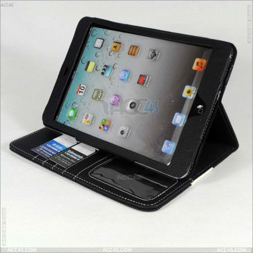 for mini ipad cover,leather case with card slots for ipad mini P-iPDMINICASE098