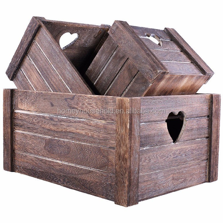 Hand carve classic style vintage recycled wooden crates for fruit