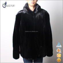 High Quality China Luxury Mink Mens Jacket Black Real Mink Fur Coat Hooded for Men