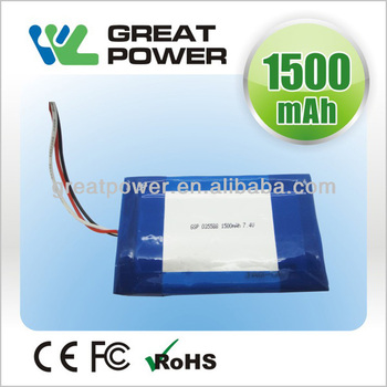 Factory directly selling IEC UN standard high power 3.7v 1500mah li-ion polymer battery