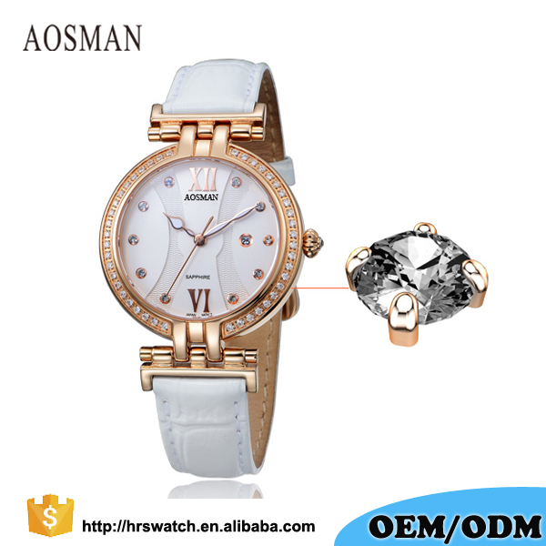 Luxury calendar Lady Watch diamond bezel genuine leather quartz watch