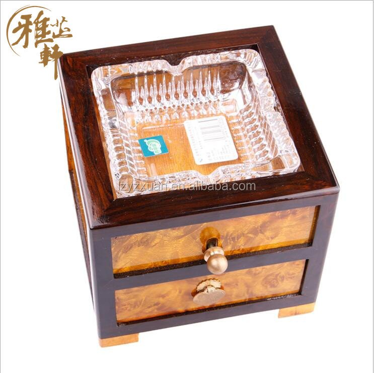 Wood carving ecofriendly portable wholesale cigar ashtrays with drawer