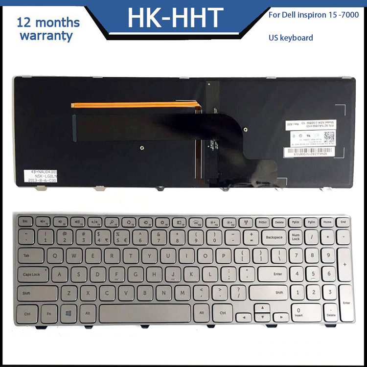 US layout Silver laptop keyboard for DELL Inspiron 15 7000 Series 15 7537 backlit Keyboard