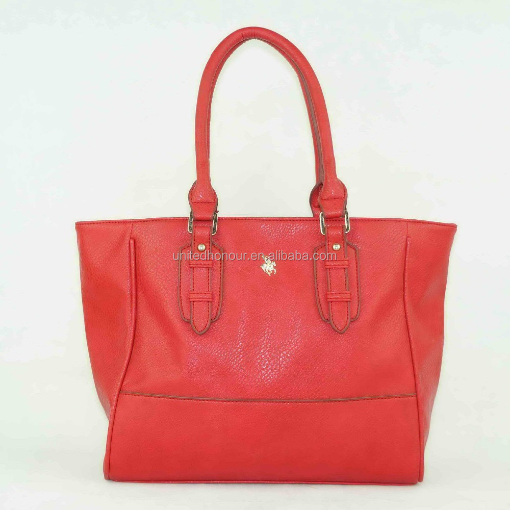 2014 woman fashion leather red model hand bag with tiny horse design