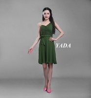 Green color anti-Wrinkle elegant chiffon party cocktail dress