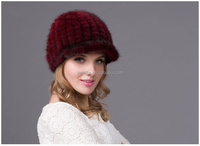 Christmas customized Lady's Fashion pure color mink fur casquette hat mink fur cap with cheap price