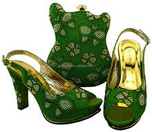 AB8463#2 Beautiful and high quality Italian Shoes and bag in green for evening/wedding party