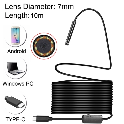 USB-C / Type-C Endoscope Waterproof Snake Tube Inspection <strong>Camera</strong> with 8 LED & USB Adapter, Length: 10m, Lens Diameter: 7mm