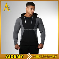 Oem Fashion two tone colour zip mens sport hoodies and jacket hoodies with hood